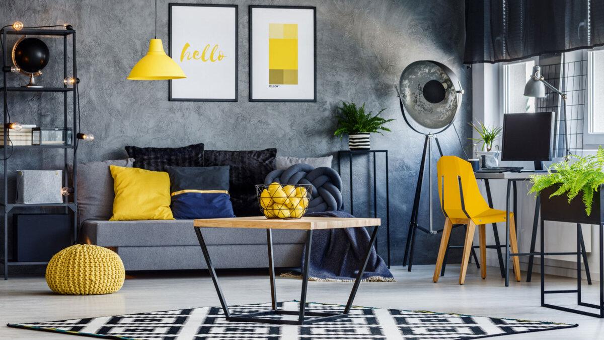 интерьер комната желтые акценты цвет