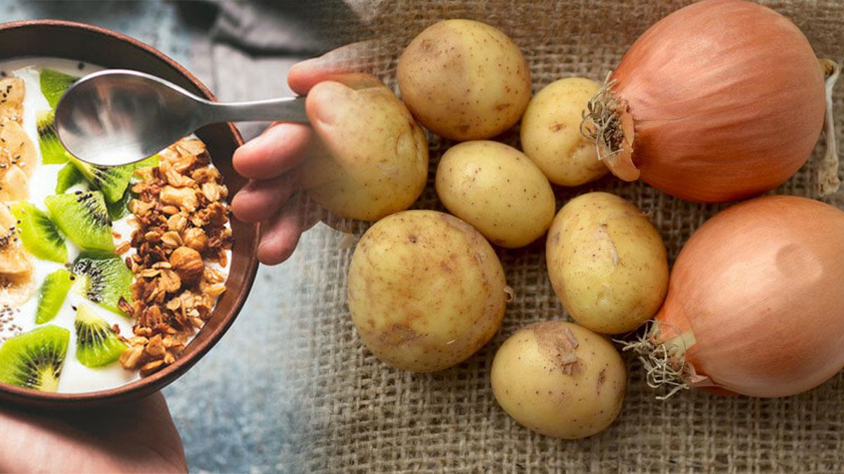 картофель лук киви орехи