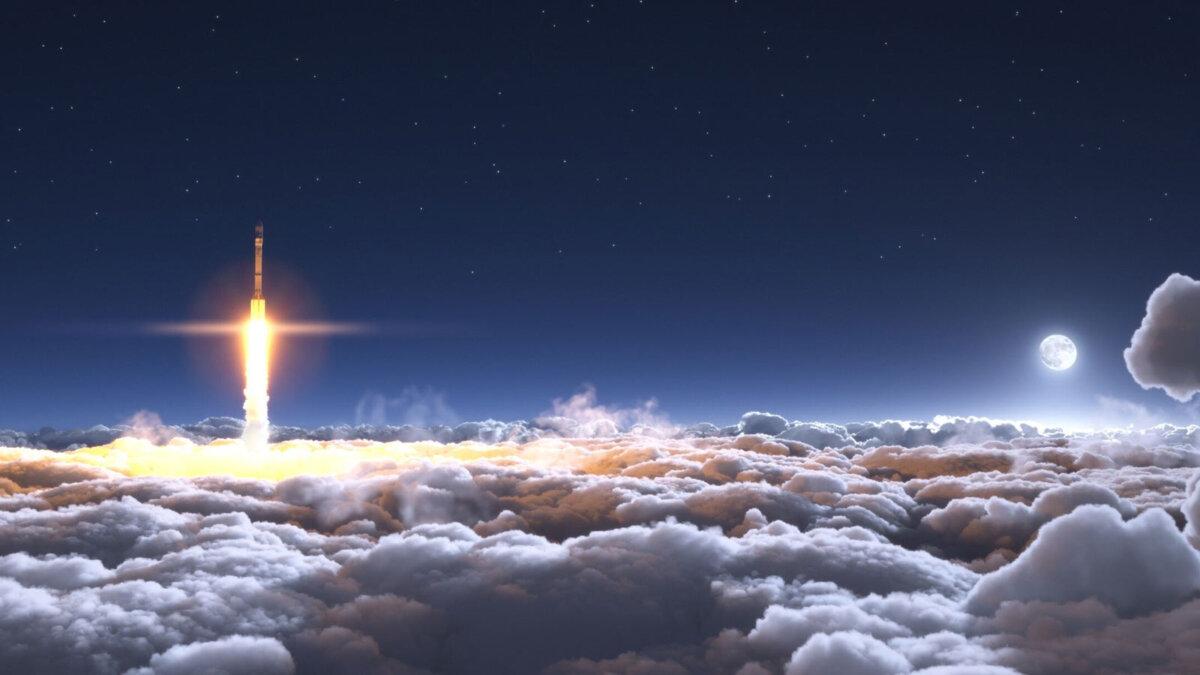 ракета взлетающая с земли облака луна