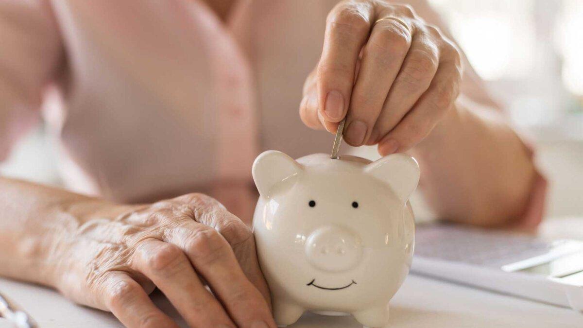 руки пожилой денщины копилка Old women's hands put money in the piggy Bank