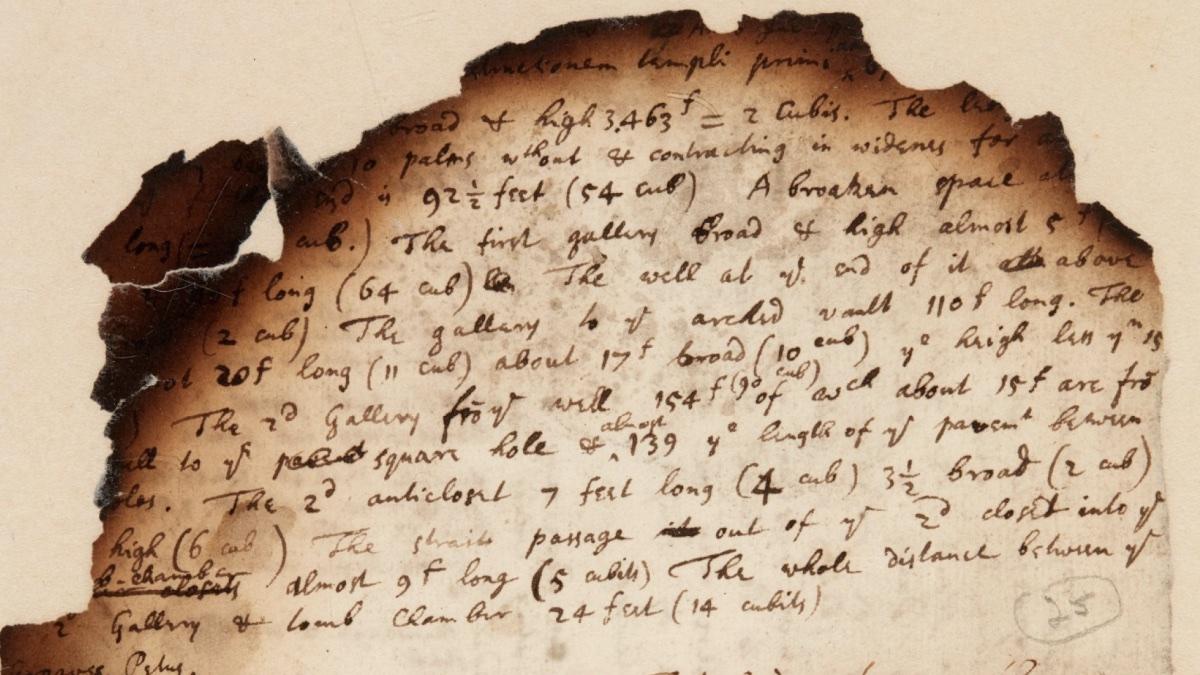 сгоревшая рукопись Ньютона на аукционе