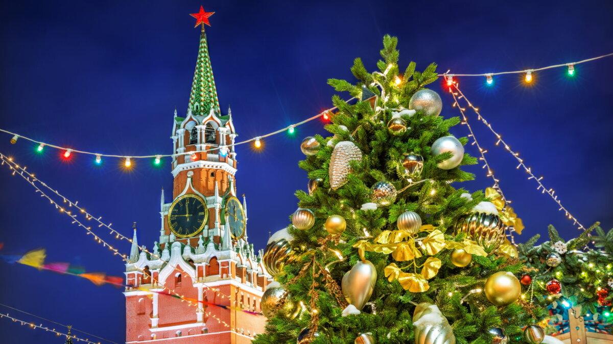 Москва Новый год ёлка Кремль Спасская башня погода