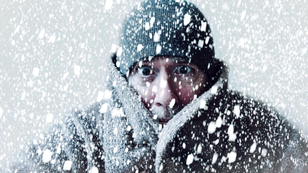 Погода зима снегопад хлопья холод мороз один