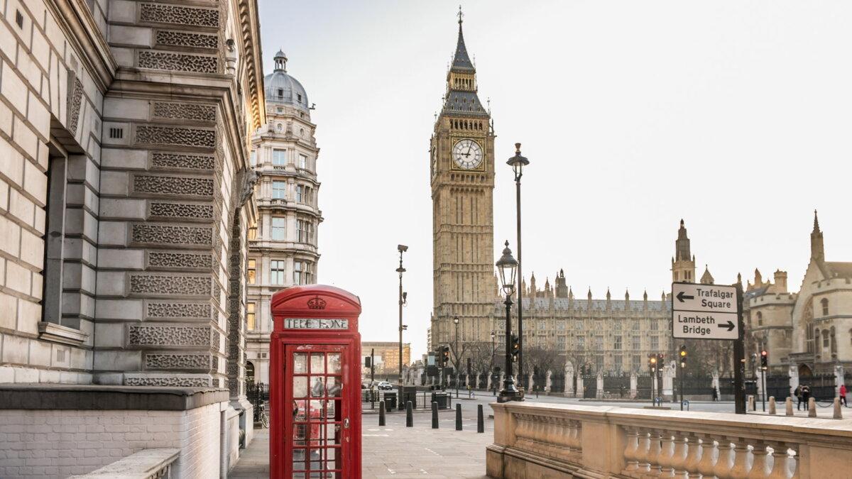 Лондон Великобритания башня Биг-Бен коронавирус ограничения один