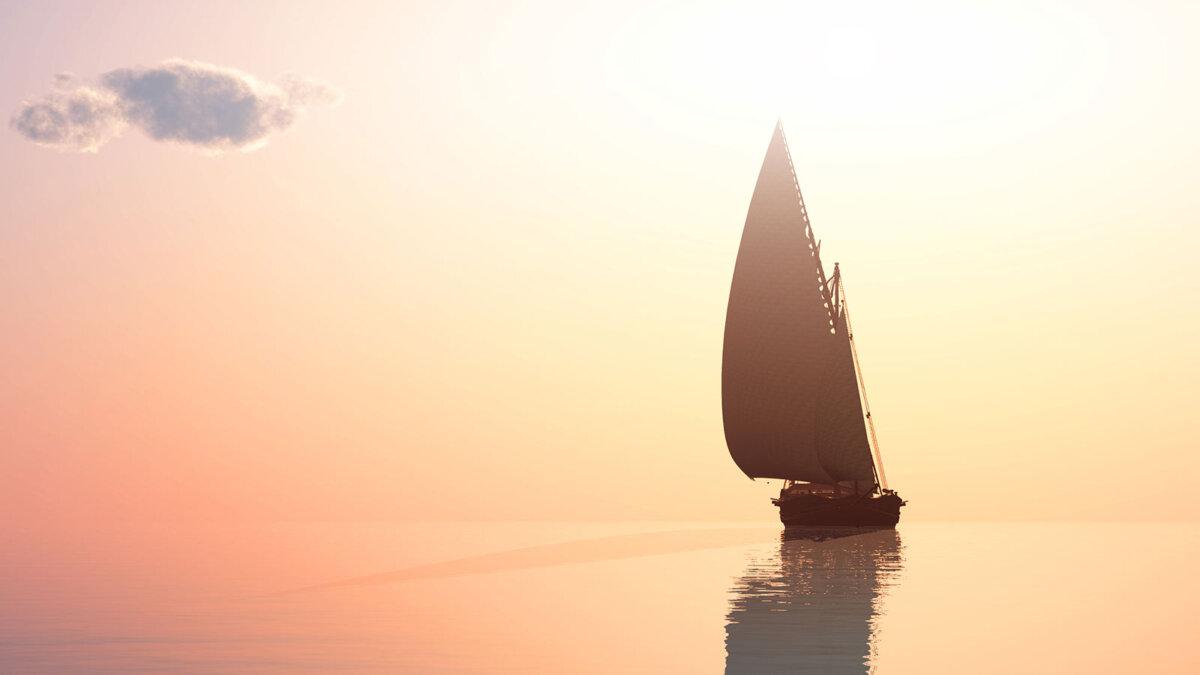 яхта на закате горизонт парус край земли