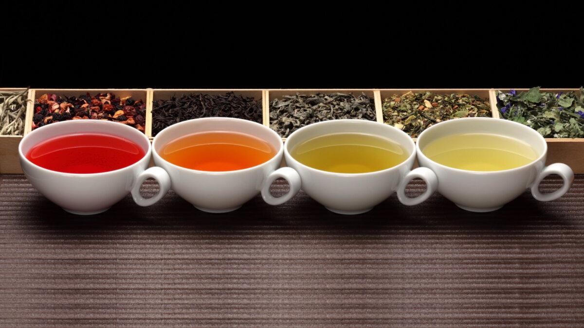 Разные сорта чая Чёрный зелёный фруктовый один