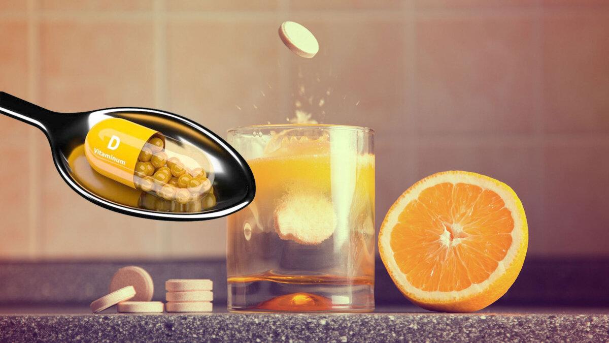 витамины c d апельсин шипучие таблетки