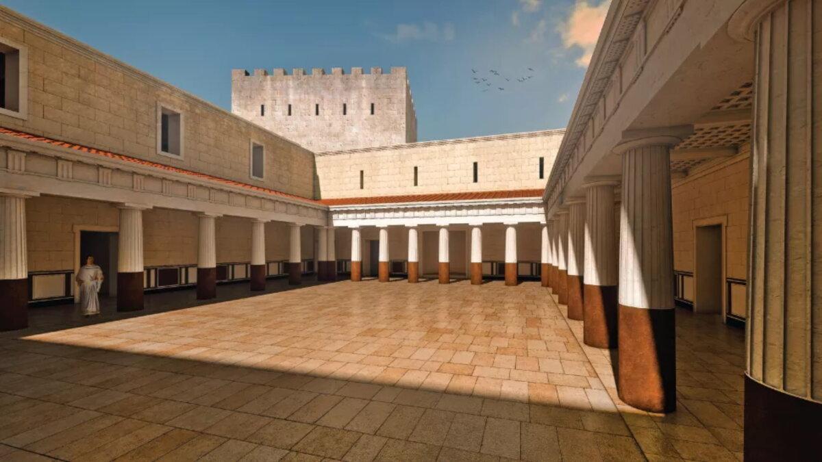 Реконструкция обнаруженного в Махерусе внутреннего двора Ирод Антипа археология