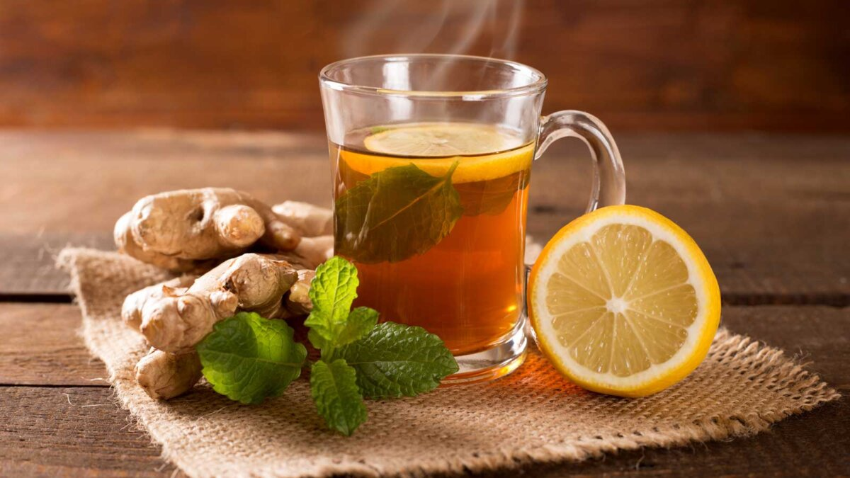 Чай лимон имбирь мята
