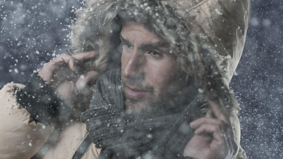 Погода зима снегопад хлопья холод мороз три