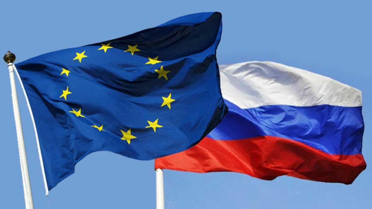 Флаги Евросоюз и Россия