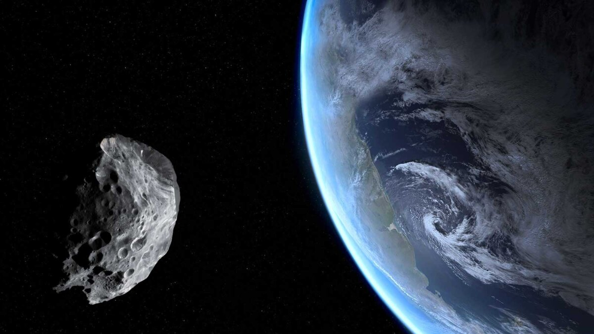 Голубая Земля и астероид