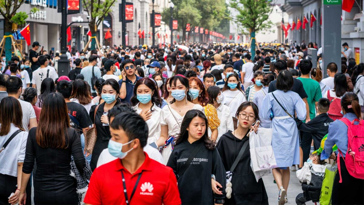 Китай люди улица маски Crowd of people wearing surgical face mask