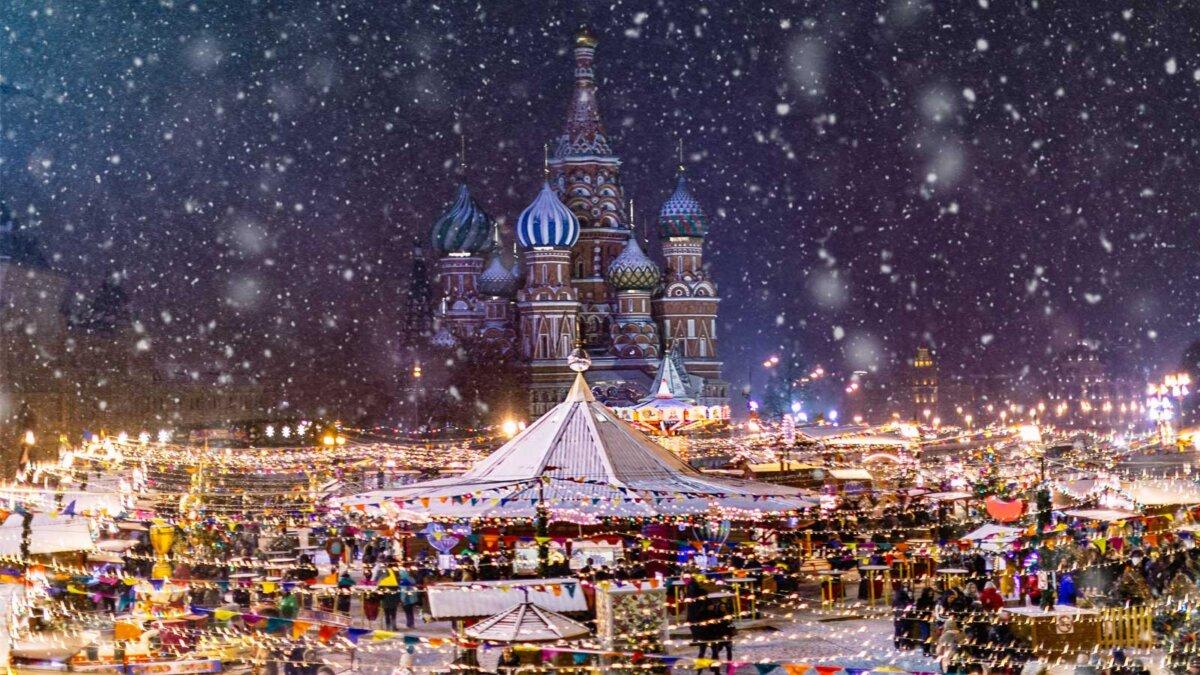 Москва снег ярмарка зима