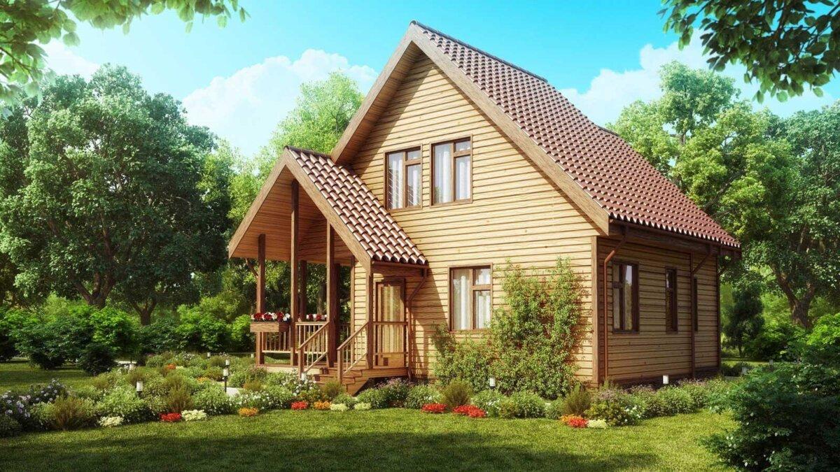 Пригородный деревянный дом Уютный внешний вид дома