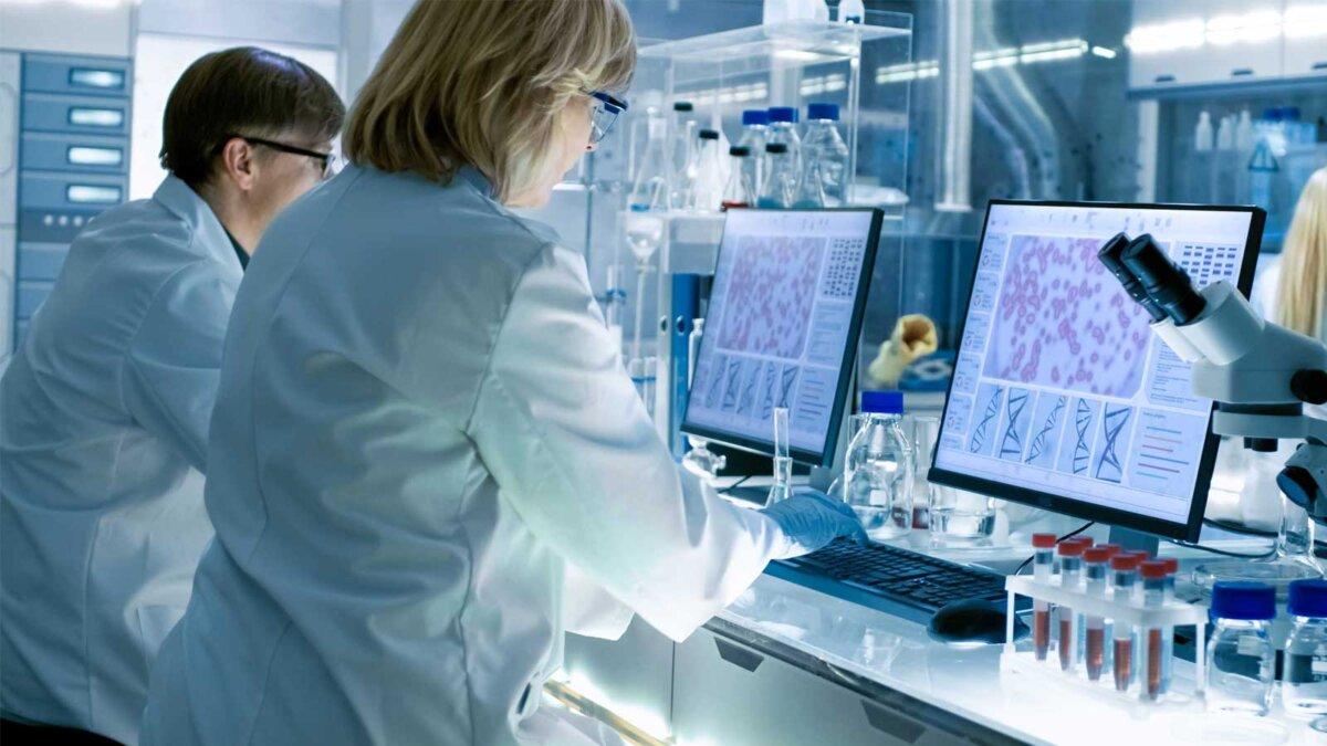 Ученые женского и мужского пола, работающие над компьютерами в большой современной лаборатории