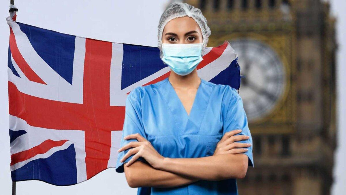 Женщина врач в маске флаг Великобритании