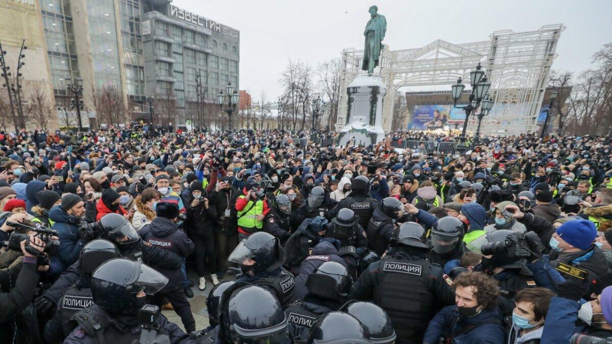 несанкционированный митинг, Пушкинская площадь, Москва, 23 января 2021 года