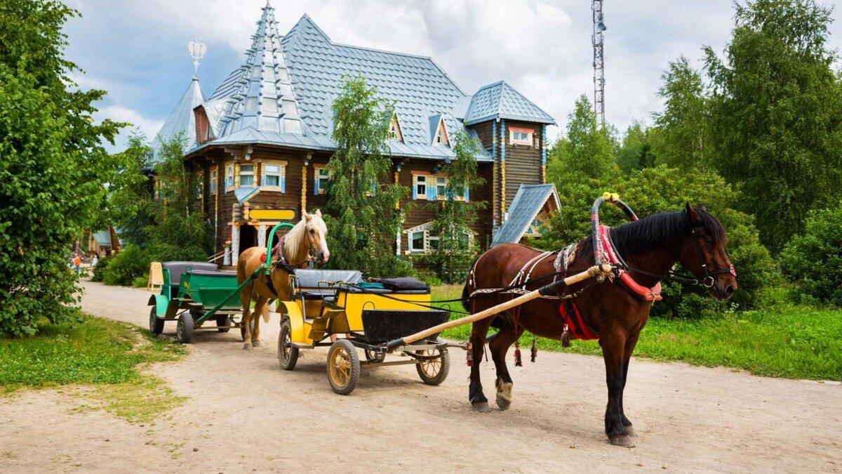 деревня лошади повозки