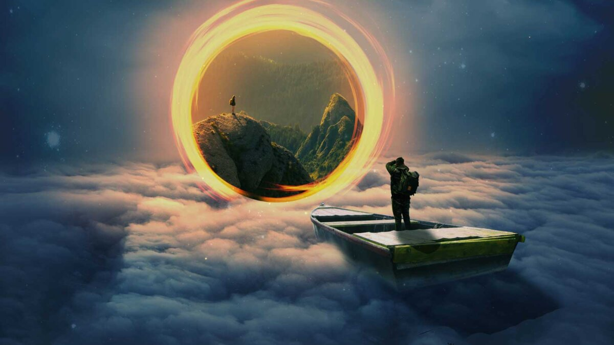 Звёздное небо и космос в картинках - Страница 12 Muzhchina-lodka-kosmos-portal-an-portal-to-another-dimenshion-1200x675