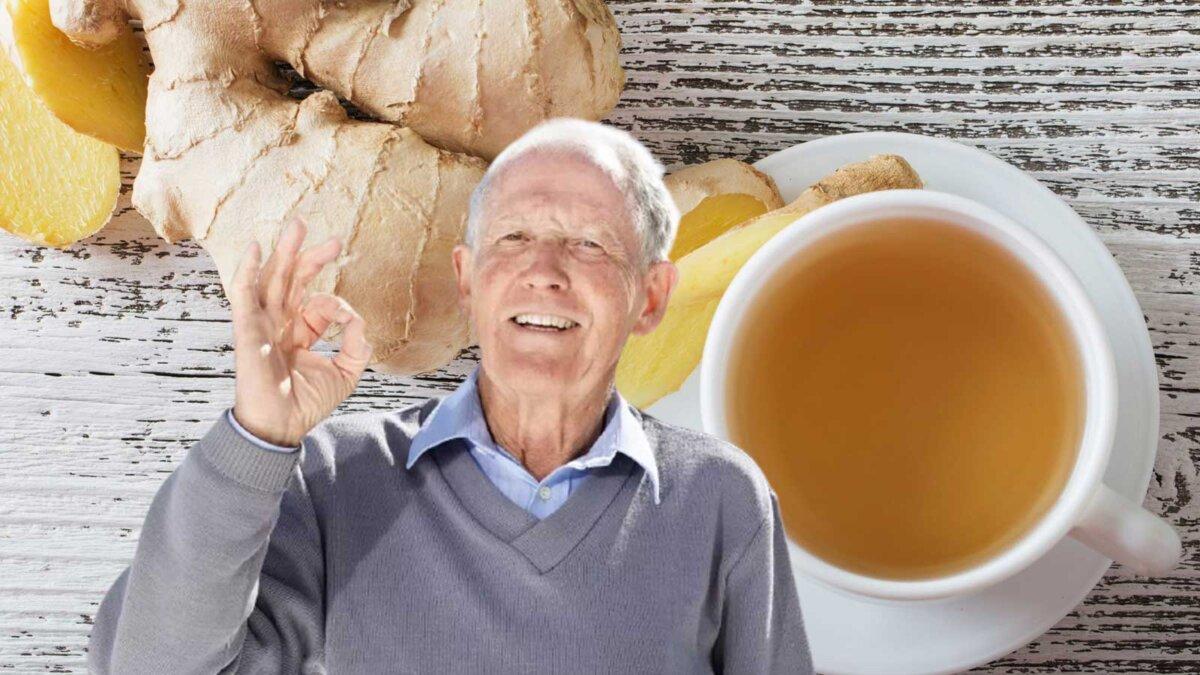 пожилой мужчина чашка чая имбирь