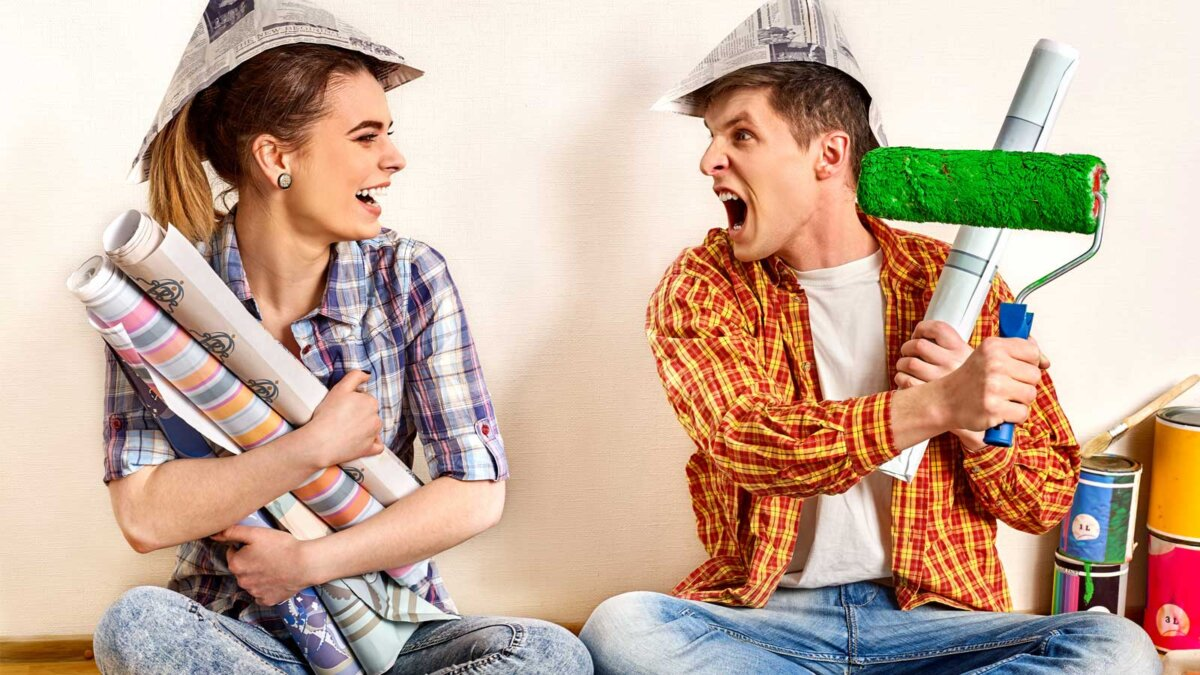 счастливая семья ремонт дома family by happy couple building home