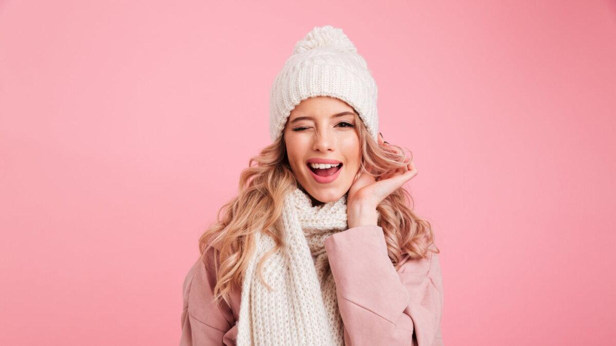 зимняя шапка причёска волосы