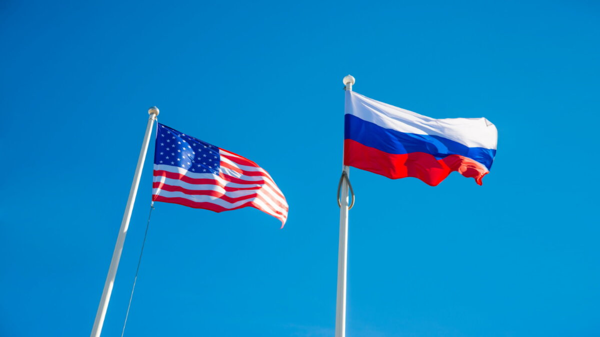 США Россия флаги один