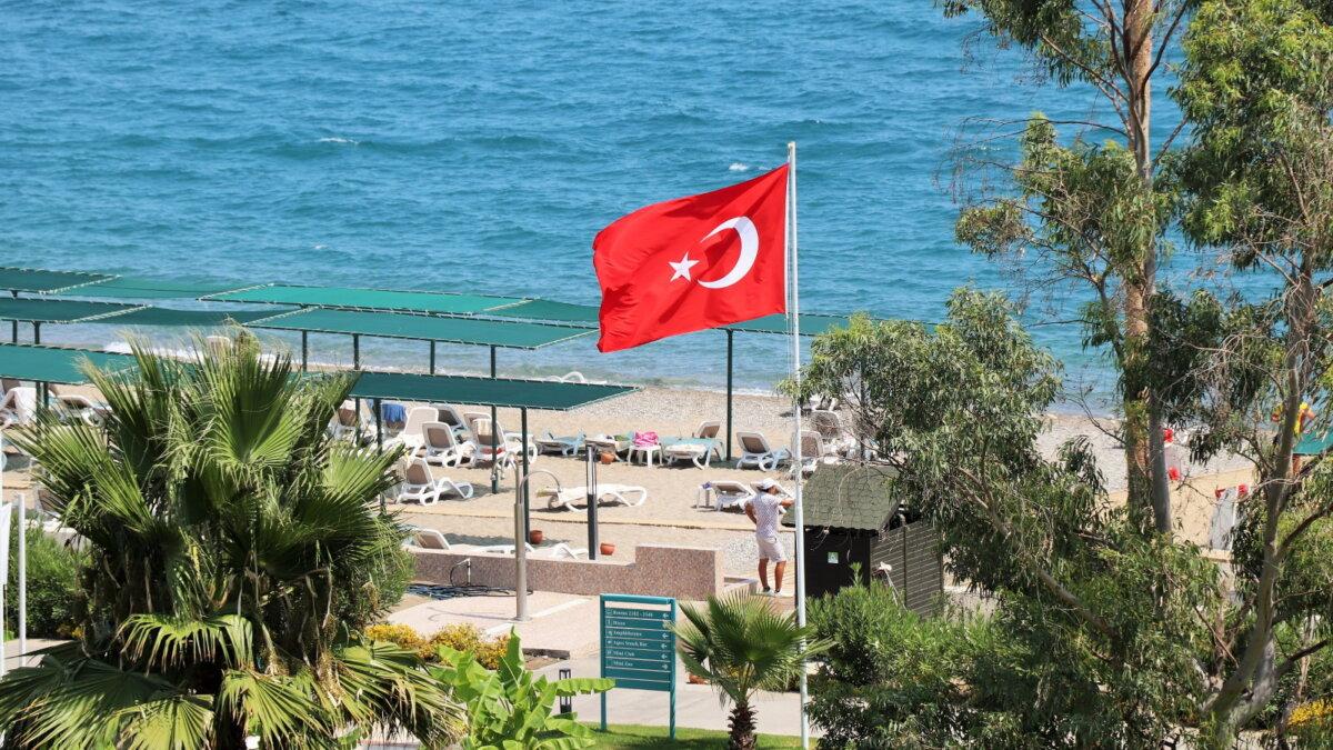 Турция курорт туризм флаг пляж