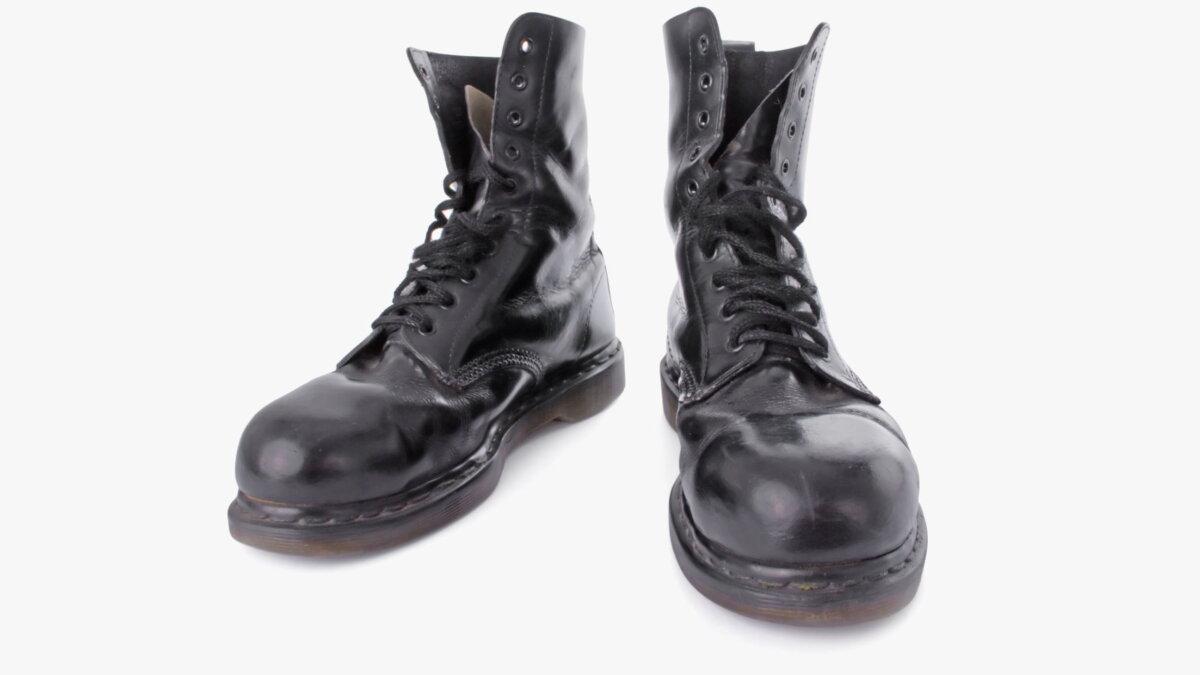 Кожаные панковские ботинки