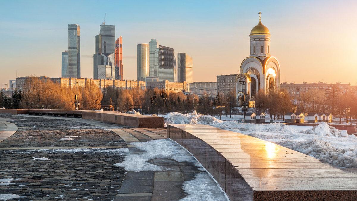 Москва зима погода солнечно москва-сити