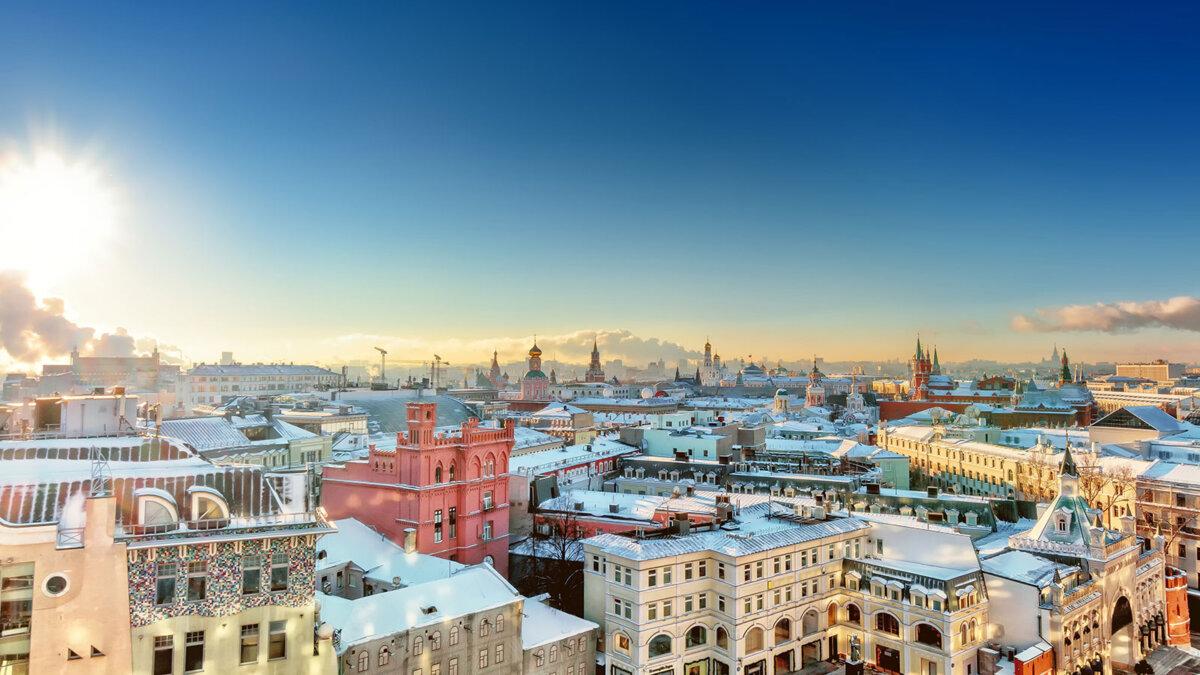 Москва зима погода солнечно крыши домов