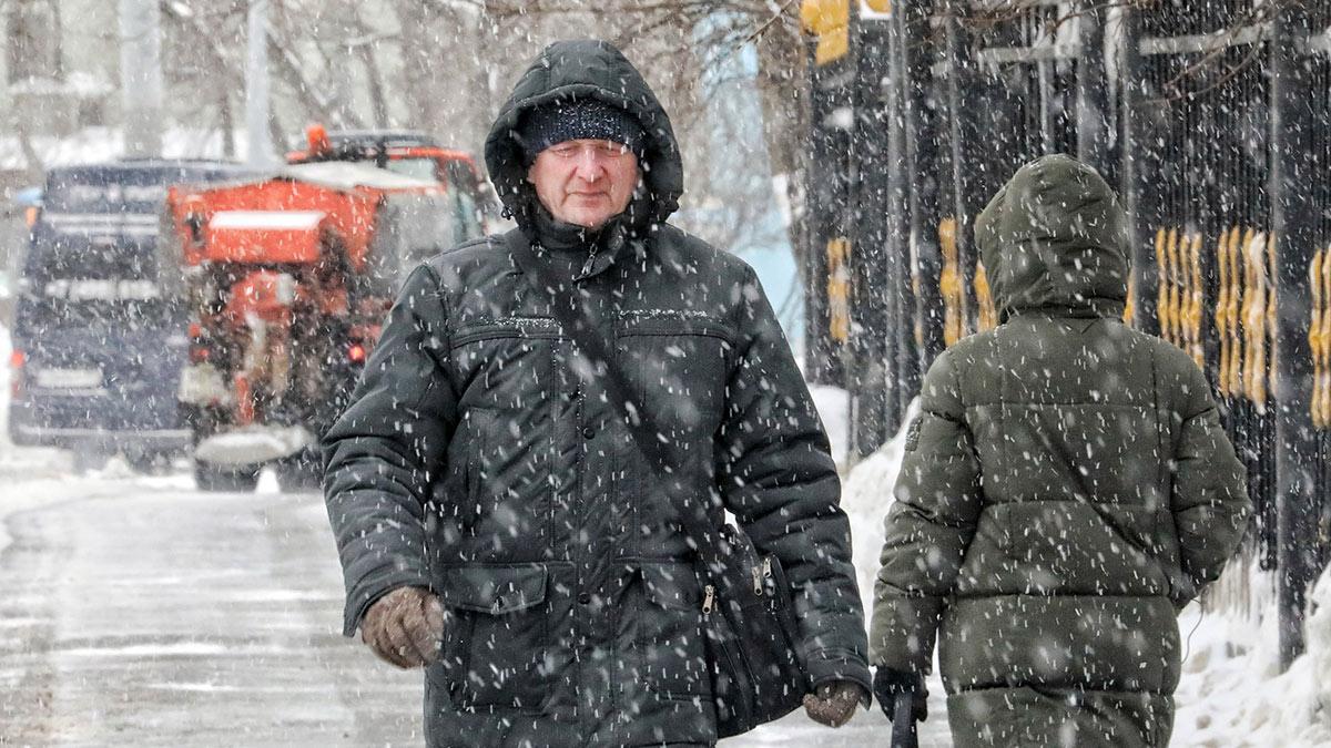 москва снегопад зима прохожие снег метель