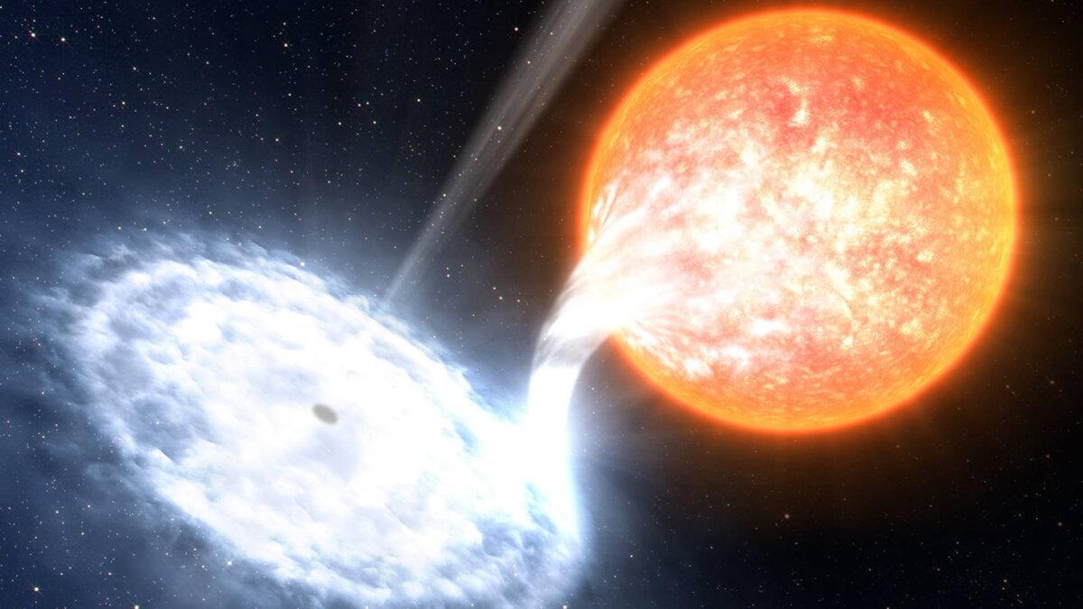 Чёрная дыра и звезда три