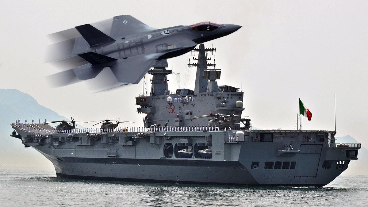 Авианосец ВМС Италии Кавур и истребитель-бомбардировщик F-35