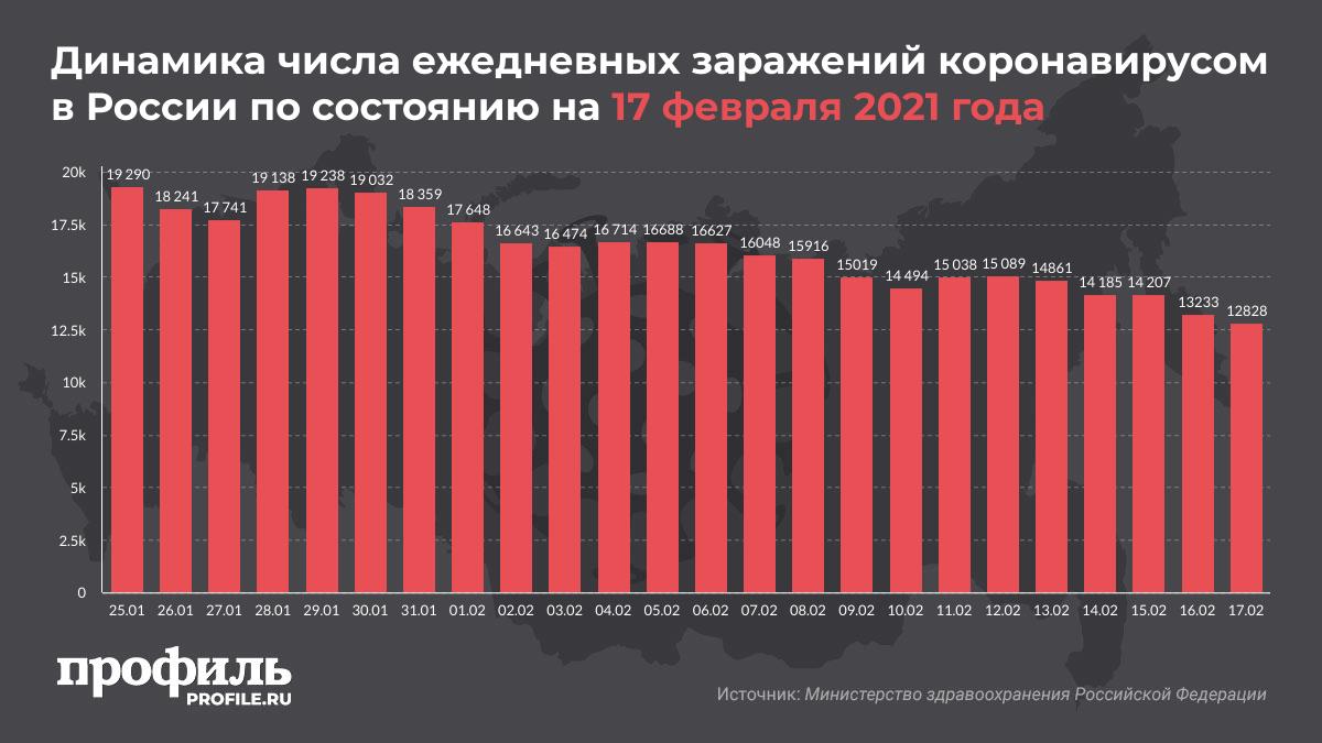 Динамика числа ежедневных заражений коронавирусом в России по состоянию на 17 февраля 2021 года