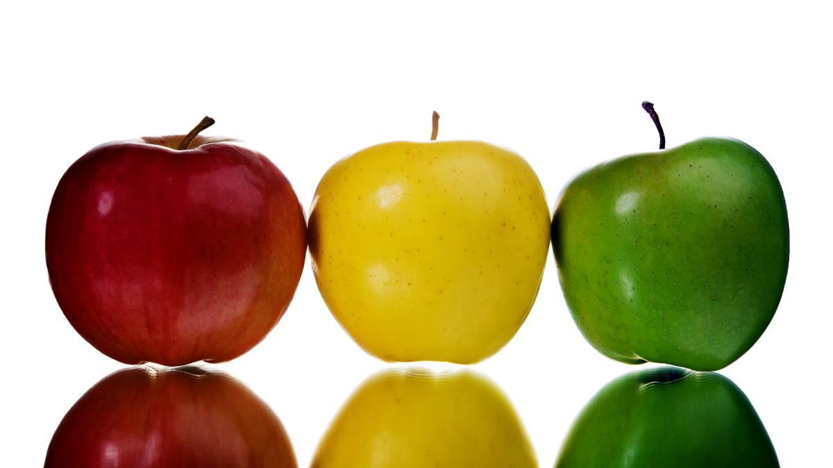 Яблоки красное жёлтое зелёное