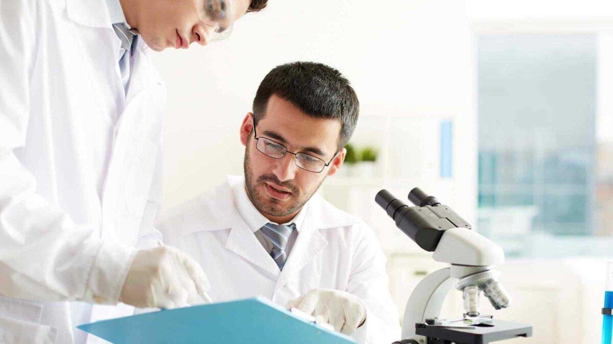 Два врача обсуждают медицинский документ в лаборатории