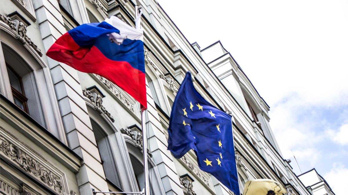 Флаги Россия и Евросоюз
