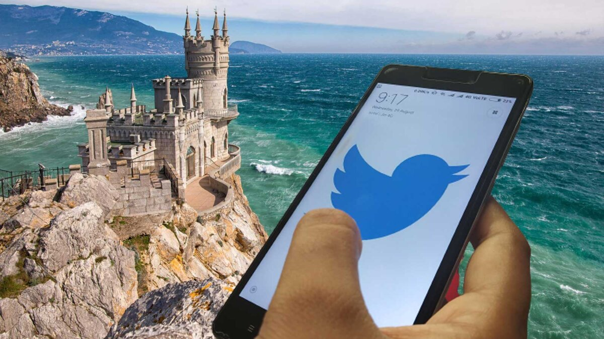Крым телефон Твиттер рука