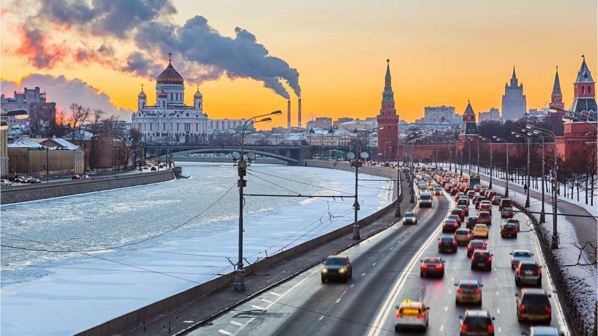 Москва дороги мороз холод машины