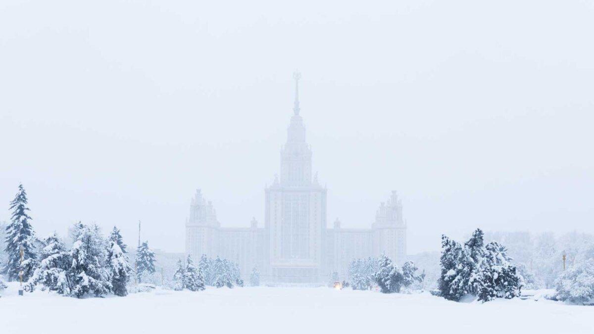 МГУ зима снегопад