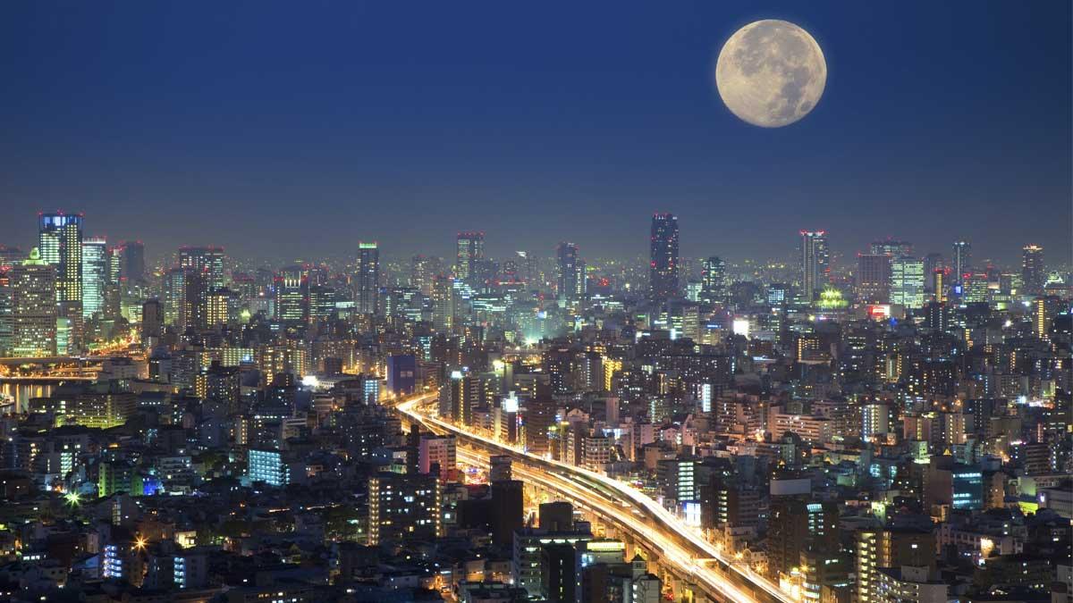 Полная луна город full moon in the city