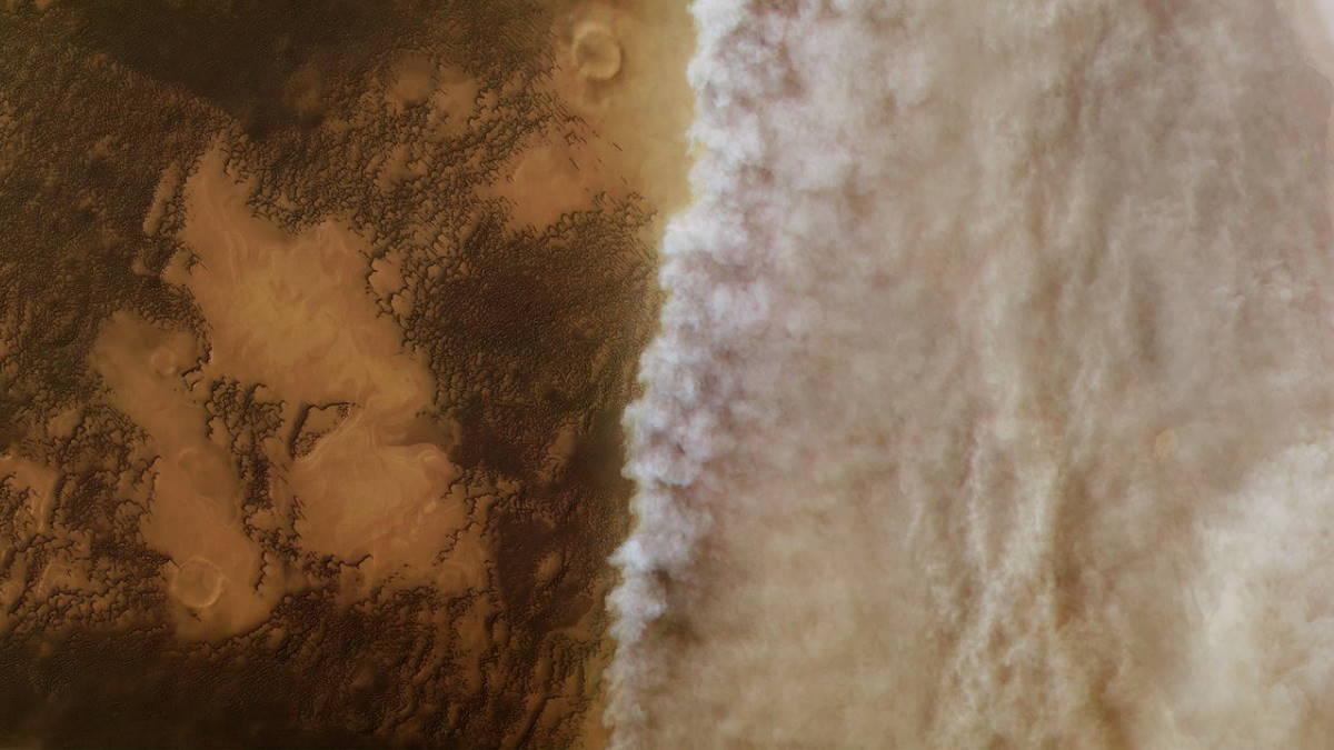 Пыльная буря на Марсе