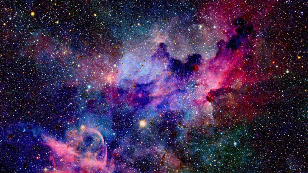 Туманность и галактики в космосе