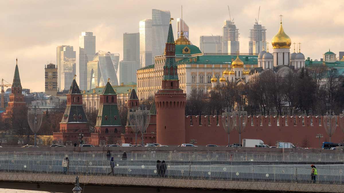 Вид центра Москвы Кремль