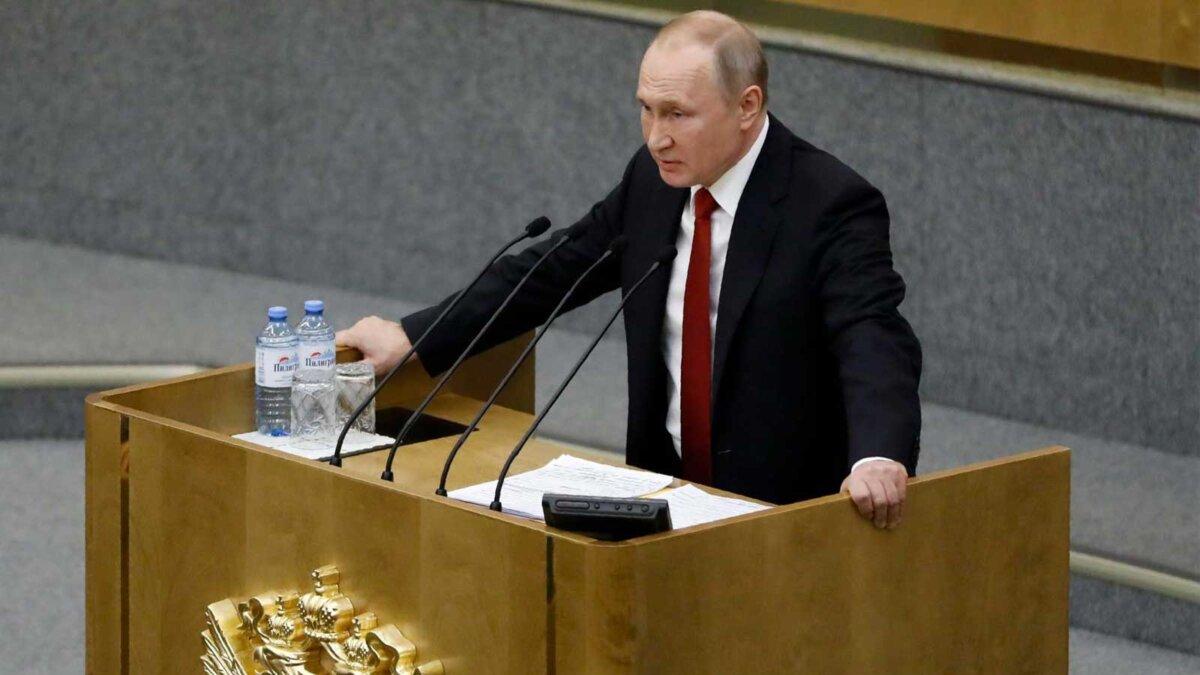 Владимир Путин выступает в Государственной Думе
