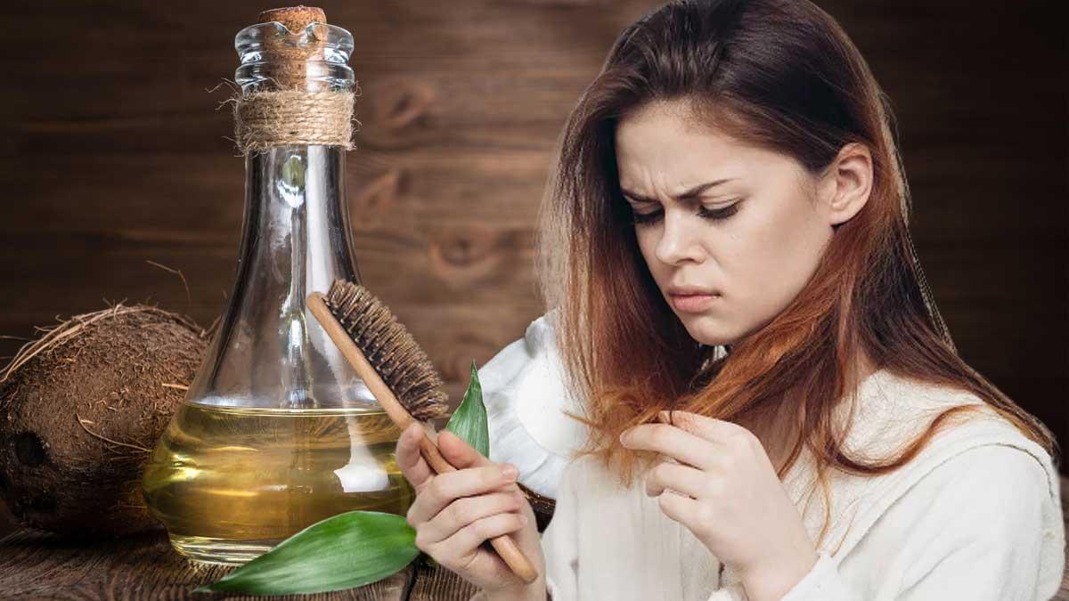девушка волосы расческа выпадение кокосовое масло
