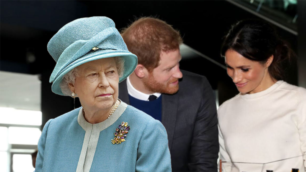 королева Елизавета вторая принц Гарри и Меган маркл
