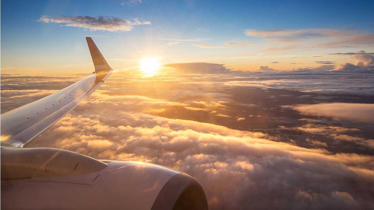 крыло самолет небо солнце